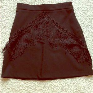 Zara Collection Black Fringe Mini Skirt